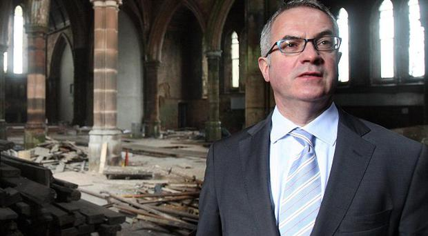 Environment Minister Alex Attwood inside Carlisle Memorial Methodist Church in Belfast