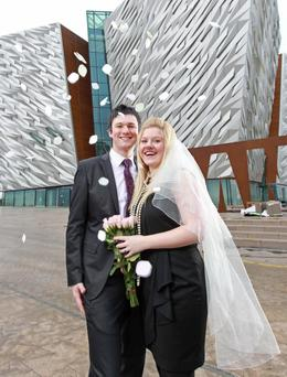 Lynsay Smith and Brian Evans will marry at Titanic Belfast after become the first couple to book their wedding reception in the banqueting suite of the visitor attraction