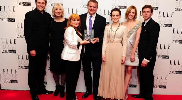 Cast members of Downton Abbey with their award for Best TV Show, at the 2012 Elle Style Awards at The Savoy Hotel