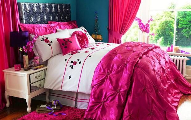 Romance double duvet cover set from £27; throw £59, isme.com