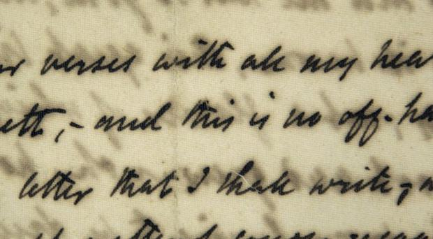 The first love letter sent by poet Robert Browning to Elizabeth Barrett in January 1845 (AP)