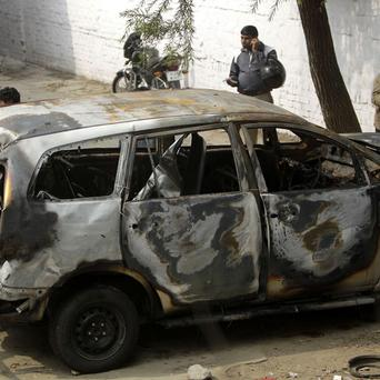 The wreck of an Israeli diplomatic car that was hit by a bomb in India (AP)