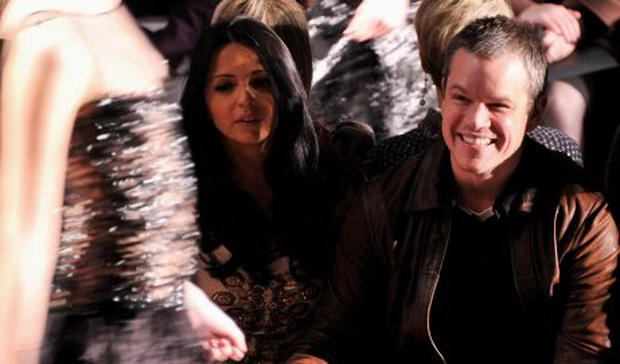 Luciana Barroso and actor Matt Damon attend the Naeem Khan Fall 2012 fashion show during Mercedes-Benz Fashion Week at The Theatre at Lincoln Center on February 14, 2012 in New York City.