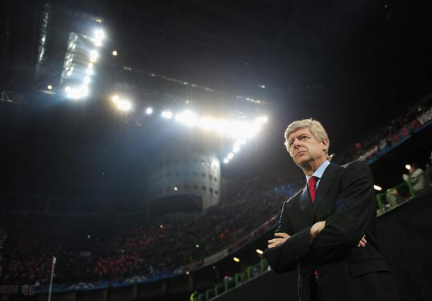MILAN, ITALY - FEBRUARY 15: Arsene Wenger, manager of Arsenal looks on during the UEFA Champions League round of 16 first leg match between AC Milan and Arsenal at Stadio Giuseppe Meazza on February 15, 2012 in Milan, Italy. (Photo by Shaun Botterill/Getty Images)