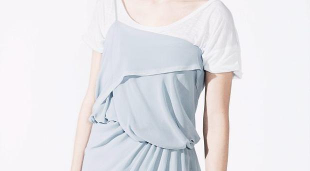 New pastel: Leaving traditional wedding shades behind, this year embrace catwalk favourites like gainsboro grey, duckegg blue and palest mint. <b>Top £40, Mary Portas, dress £90, Religion, House of Fraser</b>
