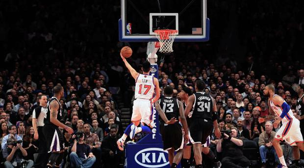 NEW YORK, NY - FEBRUARY 15: Jeremy Lin #17 of the New York Knicks shoots against the Sacramento Kings at Madison Square Garden on February 15, 2012 in New York City