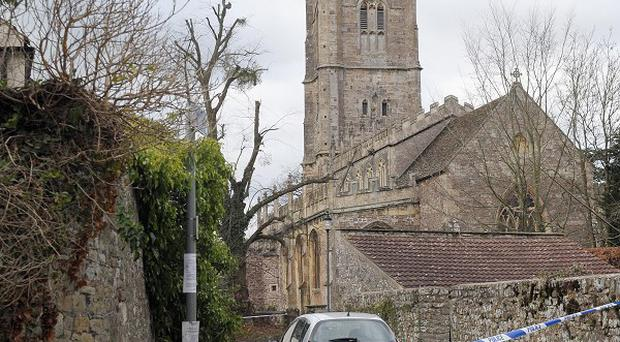 A general view of St Mary's Church in Thornbury, south Gloucestershire, where a clergyman was found dead in suspicious circumstances
