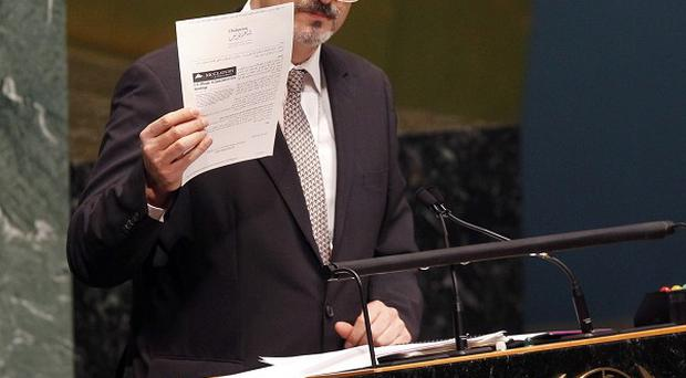 Syria's representative to the United Nations, Bashar Ja'afari, addresses the General Assembly (AP)