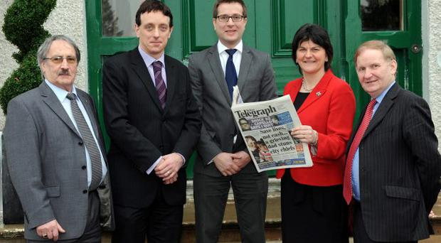 Enterprise minister Arlene Foster helped launch a joint initiative between the Federation of Small Businesses (FSB) and nijobfinder.co.uk at an FSB business breakfast in the Corick House Hotel. She was joined by (from left) FSB regional chairman John Friel, classified advertising manager at nijobfinder.co.uk Mark Riley, group business editor at the Belfast Telegraph David Elliott and MLA Lord Morrow