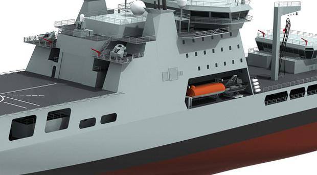 Computer generated image of the Royal Navy's new Military Afloat Reach and Sustainability tanker