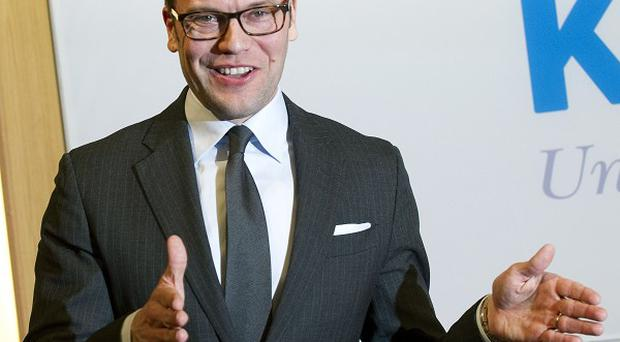 Prince Daniel of Sweden announces the birth of his first child at the Karolinska University Hospital in Stockholm (AP)