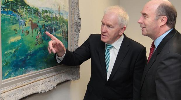 Jimmy Deenihan TD (left) and AIB chief David Hodgkinson viewing a Jack B Yeats painting