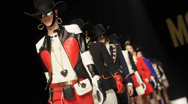 Models walk the runway at the Moschino Autumn/Winter 2012/2013 fashion show as part of Milan Womenswear Fashion Week