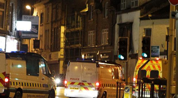 Greater Manchester Police on Bridge Street after disturbances broke out in the Heywood area of Rochdale