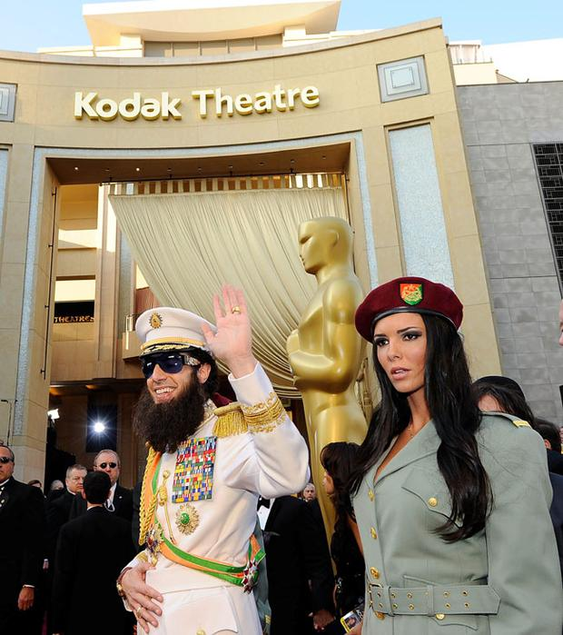HOLLYWOOD, CA - FEBRUARY 26: Actor Sacha Baron Cohen, dressed as his character 'General Aladeen,' arrives at the 84th Annual Academy Awards held at the Hollywood & Highland Center on February 26, 2012 in Hollywood, California. (Photo by Kevork Djansezian/Getty Images)