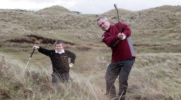 Eye on the ball: Alex Attwood at the Bushmills Dunes launch
