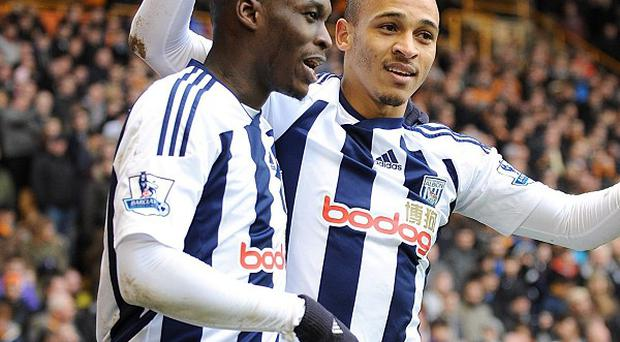 Marc-Antoine Fortune (left) and Peter Odemwingie
