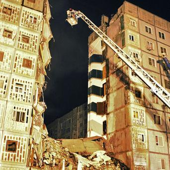 Eight were killed in an explosion at an apartment building in Russia (AP/Ministry of Emergency Situations)
