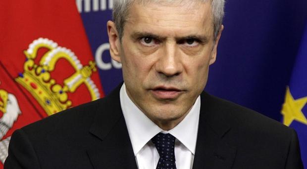 Serbian President Boris Tadic speaks at EU headquarters in Brussels (AP)