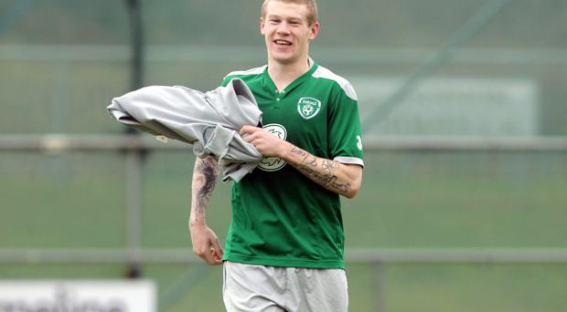 Republic of Ireland Squad Training, Gannon Park, Malahide, Co. Dublin 28/2/2012 James McClean