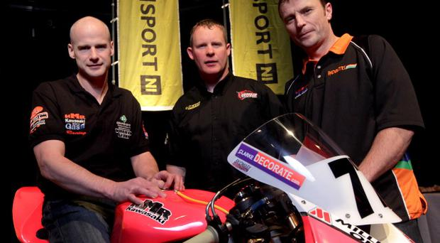 Adrian Archibald, Ryan Farquhar and Bruce Anstey at last night's North West 200 press conference