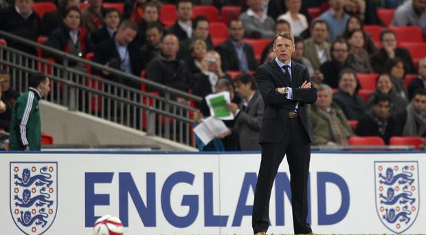 England caretaker manager Stuart Pearce on the touchline during the International Friendly at Wembley Stadium, London.