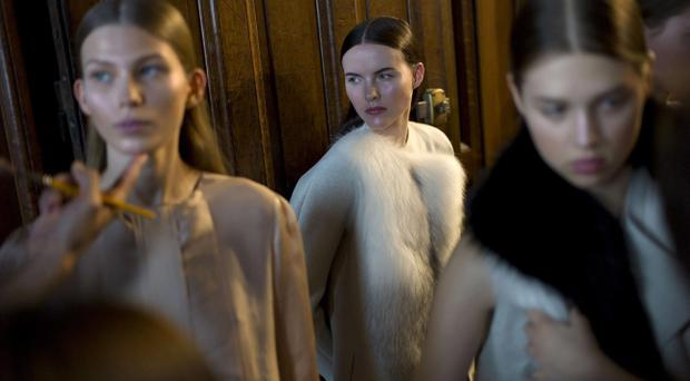 A models looks on prior to the Sharon Wauchob's Fall-Winter, ready-to-wear 2013 fashion collection, during Paris Fashion week