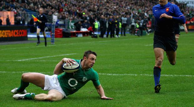 PARIS, FRANCE - MARCH 04: Tommy Bowe of Ireland scores his second try during the RBS Six Nations match between France and Ireland at Stade de France on March 4, 2012 in Paris, France. (Photo by Warren Little/Getty Images)