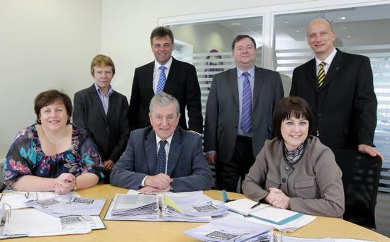 Judges, from back left: Kate Barker, chair of the Northern Ireland Economic Advisory Group; Alastair Hamilton, chief executive, Invest Northern Ireland; Professor Rodney McAdam, University of Ulster; John Heaslip, chief executive, Business in the Community; (front row) Joanne Stuart, Northern Ireland Science Park; Professor John Simpson, chair of the judging panel; Brenda Morgan, sales manager Ireland, bmi