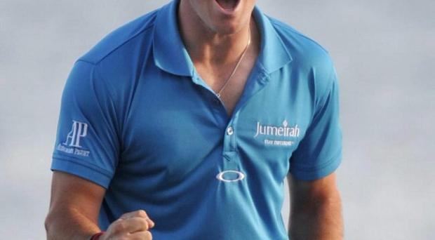 Rory McIlroy celebrates after winning the Honda Classic golf tournament in Palm Beach Gardens