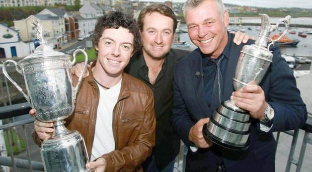 Northern Ireland's major winners Rory McIlroy, Graeme McDowell and Darren Clarke