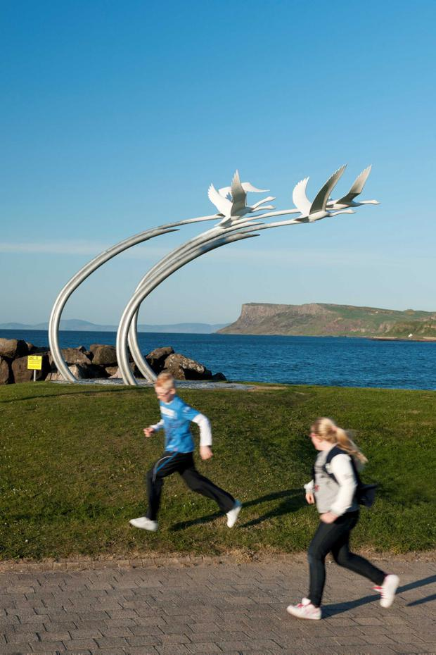 The 'Children of Lir', portraying the four swans of the well know legend, is one of two iconic sculptures to be installed at Ballycastle Harbour and seafront with financial support from Northern Ireland Tourist Board (NITB) through the Tourism Development Scheme.