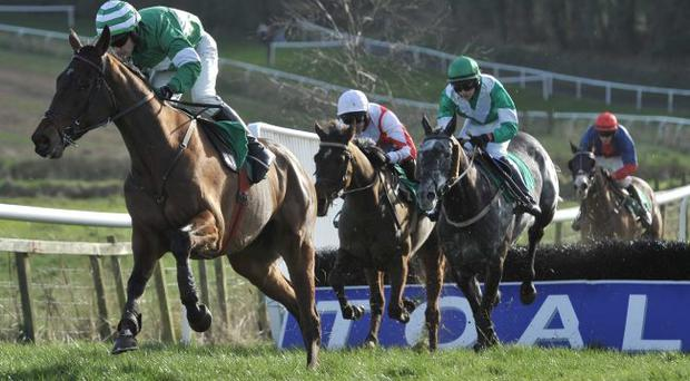 Out in front: Oscar Hill on way to winning Roadhouse Handicap Hurdle at Downpatrick on wednesday