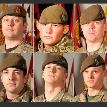 Clockwise from top left, Sgt Nigel Coupe, Cpl Jake Hartley, Pte Anthony Frampton, Pte Daniel Wilford, Pte Daniel Wade and Private Christopher Kershaw (MoD)