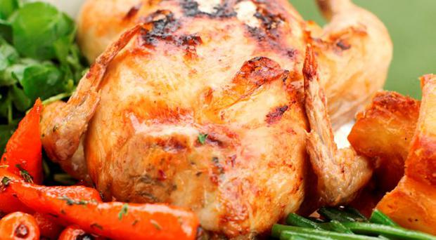 Roast chicken with Flahvan's apricot and oatmeal stuffing