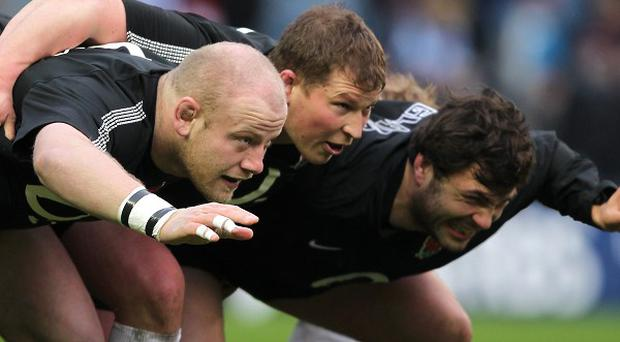 L-R: The England front row of Dan Cole, Dylan Hartley and Alex Corbisiero