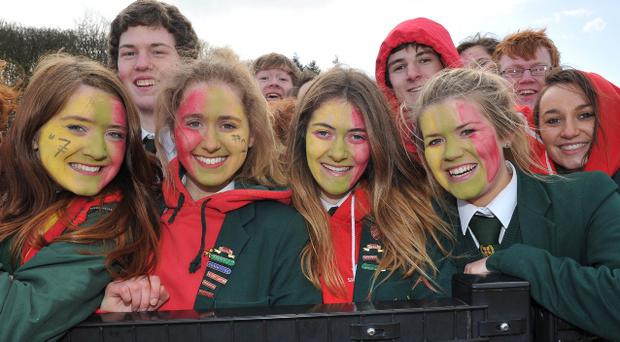Mandatory Credit: Rowland White/PressEyeSchools' Hockey: Burney Cup Semi-FinalTeams: Friends' School (green) v Wallace High School (blue/white)Venue: LisnagarveyDate: 7th March 2012Caption: Happy Friends supporters radiant in the school colours