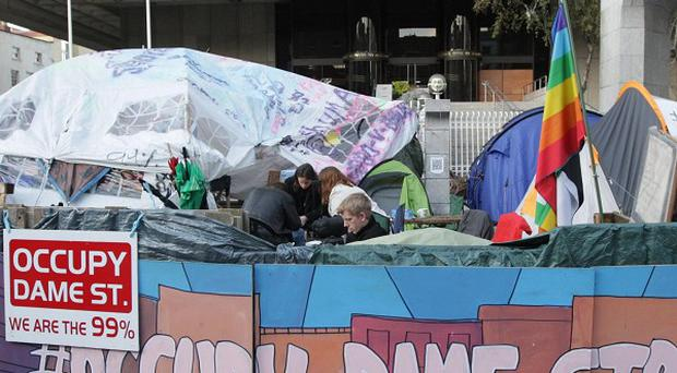 Occupy Dame Street protesters had been camping in Dublin since last October