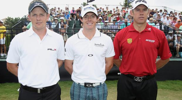 MIAMI, FL - MARCH 08: (L-R) Luke Donald, Rory McIlroy and Lee Westwood wait on the tenth tee during first round of the World Golf Championships-Cadillac Championship on the TPC Blue Monster at Doral Golf Resort And Spa on March 8, 2012 in Miami, Florida. (Photo by Scott Halleran/Getty Images)