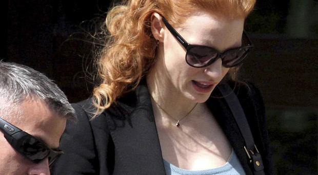 Jessica Chastain walks on the sets of her new film in India