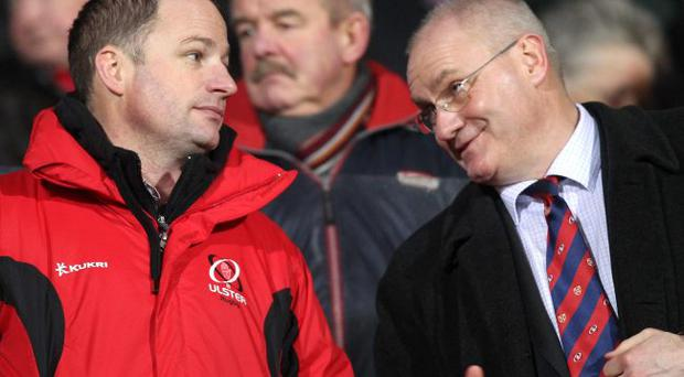 Good to talk: Ulster Director of Rugby David Humphreys (left) and Chief-Executive Shane Logan are confident they have got the right man to guide Ulster to silverware