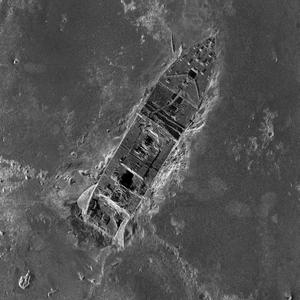 This composite image, released by RMS Titanic Inc., and made from sonar and more than 100,000 photos taken in 2010 from by unmanned, underwater robots, shows a small portion of a comprehensive map of the 3-by-5-mile debris field surrounding the stern of the Titanic on the bottom of the North Atlantic Ocean.