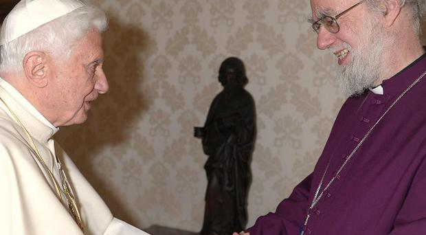 Pope Benedict XVI meets the Archbishop of Canterbury Rowan Williams at the Vatican (AP/Osservatore Romano)