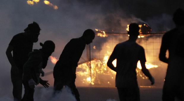Bahraini anti-government protesters during clashes in Diraz, Bahrain (AP/Hasan Jamali)