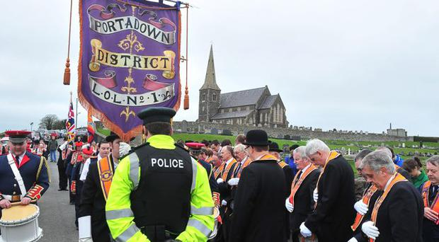 Orangemen gather at Drumcree church to mark 5,000 days since their parade was prevented from proceeding down the Garvaghy Road in July 1998