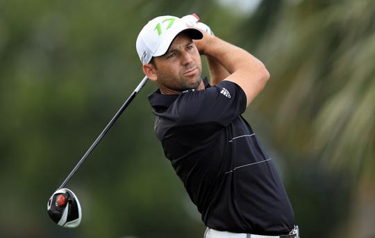 MIAMI, FL - MARCH 08: Sergio Garcia of Spain plays his tee shot at the par 4, 17th hole during the first round of the World Golf Championship Cadillac Championship on the TPC Blue Monster Course at Doral Golf Resort And Spa on March 8, 2012 in Miami, Florida. (Photo by David Cannon/Getty Images)
