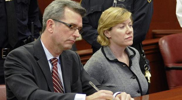 Anna Gristina appears at State Supreme Court with her attorney Peter Gleason (AP)