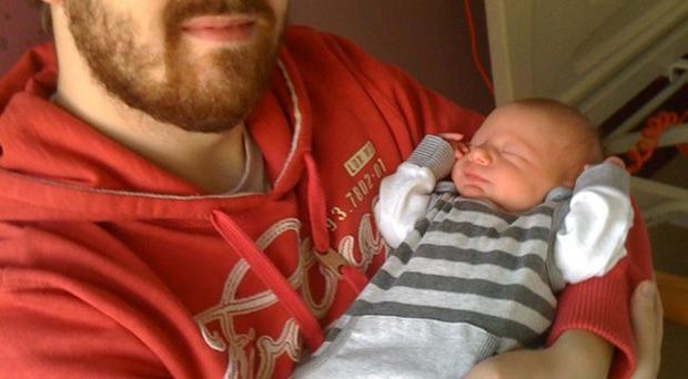 Daithi McKay and his new son Ruadhan <p><b>To send us your Baby Pics <a href=