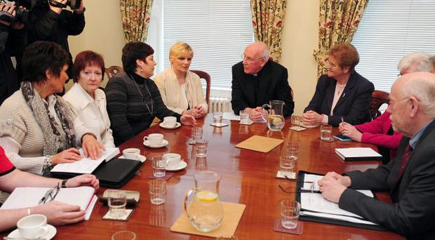 The Northern Ireland Survivors and Victims of Institutional Abuse group (Savia) meeting the Catholic primate Cardinal Sean Brady yesterday. They are seeking guarantees of his total cooperation with the forthcoming abuse inquiry in Northern Ireland