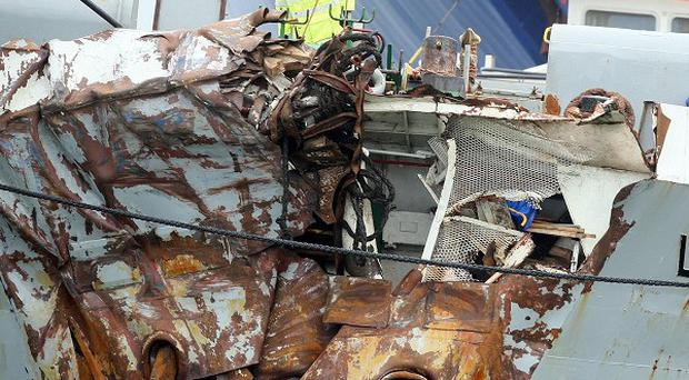 The cargo ship Union Moon was badly damaged in a collision with a Stena Line ferry